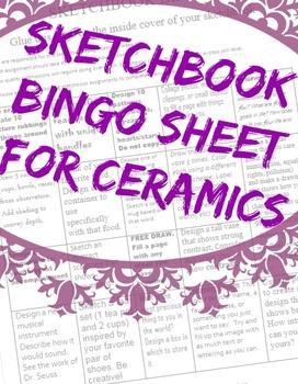Ceramics Sketchbook Assignments Bingo Sheet