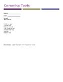 Ceramics Tools Quiz w/Wordbank