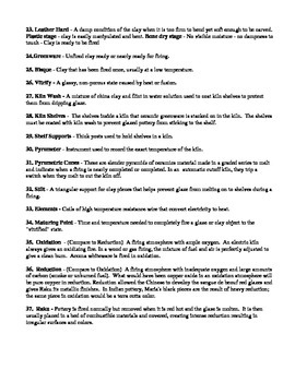 Ceramics Vocabulary List