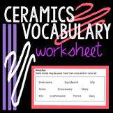 Ceramics Vocabulary Worksheet