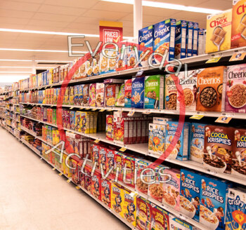 Cereal Aisle Grocery Store Stocked Shelves Food Breakfast Cereal