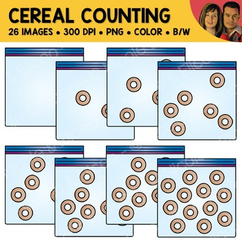 Cereal Snack Counting Scene Clipart