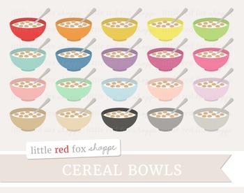 Cereal Bowl Clipart; Breakfast, Food, Milk