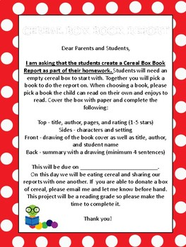 Cereal box book report by teach tiny minds teachers pay teachers cereal box book report ccuart Image collections