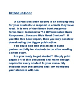 Cereal Box Book Report:  A Way to Entice Your Little Darlings