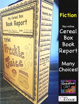 Cereal Box Book Report- Fiction Narrative Reading & Writing Story Elements