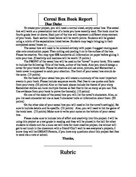 Cereal Box Book Report Letter and Rubric