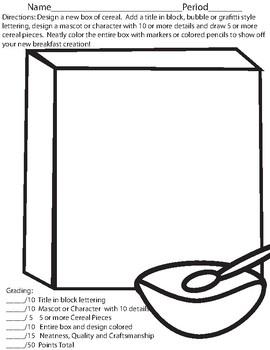 Cereal Box Design Sketch Assignment/Sub Lesson