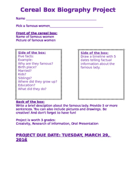 Cereal Box March Project Women Project