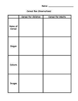 Cereal Box Observation Tracking Chart - Media Literacy
