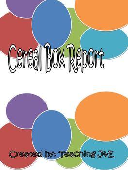 Cereal Box Report Plus Rubric