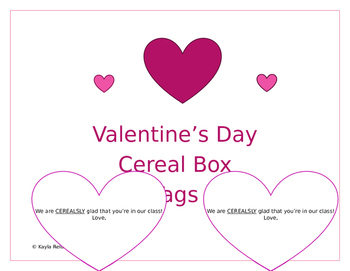 Cereal Box Valentine Tags