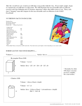 Cereal Box Volume, Surface Area, and Marketing Project