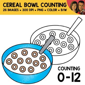 Cereal Bowl Counting Scene Clipart