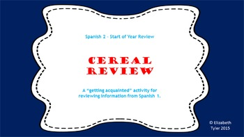 Cereal Spanish - A Review Activity