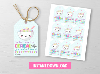Cerealsly glad Valentine Card, Cereal Gift Tags, Breakfast School Exchange Ideas