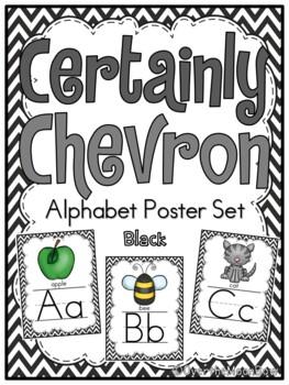 Certainly Chevron -Black- Alphabet Display Poster Set