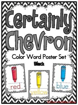 Certainly Chevron -Black- Color Words Poster Set