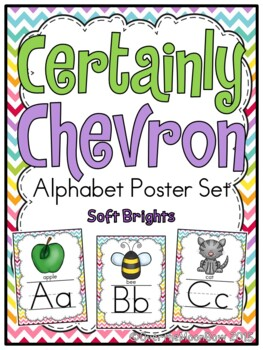 Certainly Chevron -Soft Brights- Alphabet Display Poster Set
