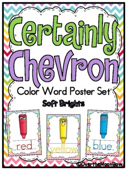 Certainly Chevron -Soft Brights- Color Words Poster Set