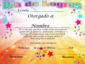 Certificado Día de Logros Motivo Estrellas Completamente Editable!!!!