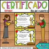 Certificado Día del maestro EDITABLE | Teacher appreciation| FREEBIE SPANISH