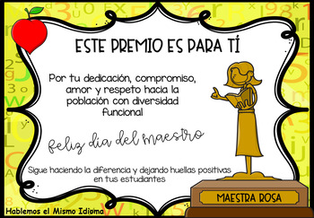 Certificado Día del maestro EDITABLE | Teacher appreciation| FREEBIE SPANISH