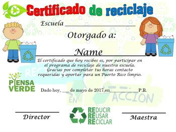 Certificado Reciclaje