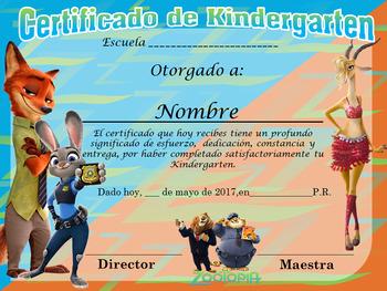 Certificado de Kindergarten Motivo Zootopia Completo Editable