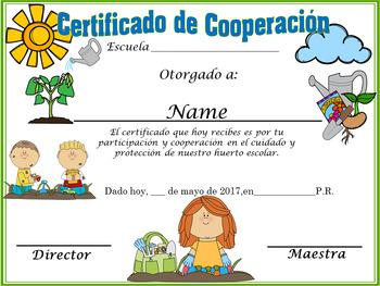 Certificado de participación en el huerto escolar Completamente Editable!!!!