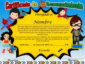 Certificado de reconocimiento de Matemáticas - Motivo Super Heroes