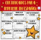 Certificados Para Imprimir en Español - Printable Spanish Reward Certificates