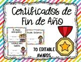 Certificados de fin de ano/ End of year awards in spanish