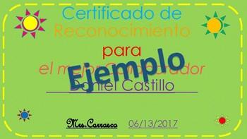 Certificados de Reconocimiento
