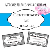 Certificados de regalo (Spanish classroom gift cards)
