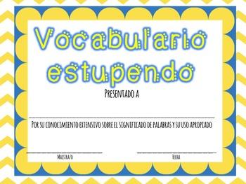 End of the Year Certificates in Spanish / Certificados para el final del año