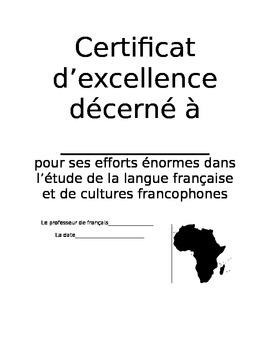 Certificat d'excellence - efforts, francophone extraordinaire, progres
