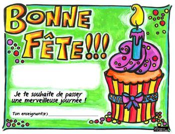 Certificat pour souligner les anniversaire: Bonne fête !