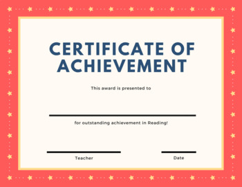 Certificate Achievement - Reading