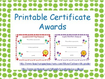 Certificate Awards with Polka Dot {editable}