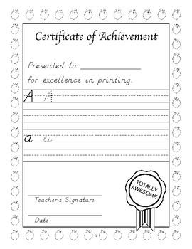 Certificate: D'nealian Handwriting Practice