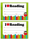 "Certificate - ""I LOVE READING"""