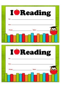 "Certificate - ""I LOVE READING"""