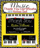 Certificate – Music Thank You Certificate and Notes Set