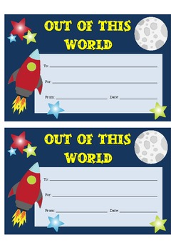 """Certificate - """"OUT OF THIS WORLD"""""""