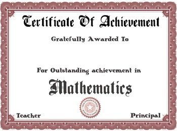 Certificate Of Achievement (Math)