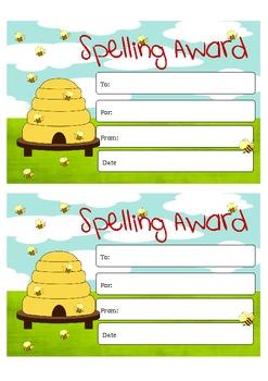 "Certificate - ""SPELLING AWARD"""