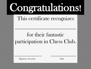 Certificate for Chess Club Participation.