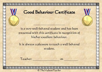 Certificate for Good Behaviour UK