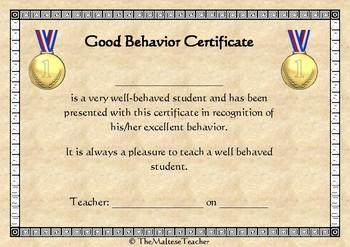 Certificate for Good Behavior US